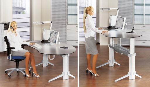 Ergodynamik durchgängig: das extrem vielseitige Systemmöbelprogramm bietet Steh-Sitz Dynamik für jeden Arbeitsplatztyp.