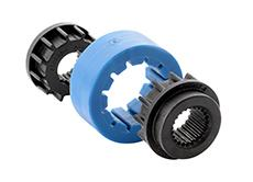 The new torque clutch comprises three components made from carbon-fiber-reinforced polyamide or thermoplastic polyurethane. The weight is less than half that of previous variants, Photo: ContiTech