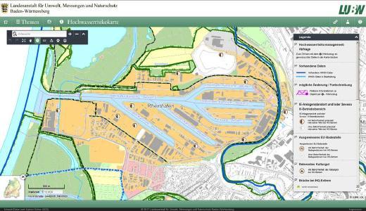 Zu der neuen Karte Hochwasserrisikokarte gelangt man durch die Auswahl Wasser im Themenbaum, Ordner Hochwasserrisikomanagement