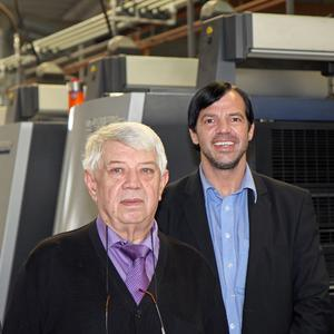 Printing expertise in two generations. Company founder Erwin Meyer (on the left) and CEO Walter Meyer © Onlineprinters GmbH