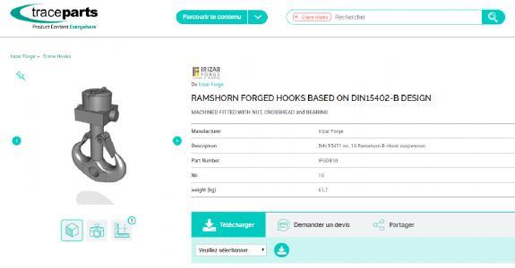 Irizar Forge Kranhaken auf der TraceParts-Plattform als CAD-Dateien erhältlich