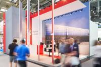 Interessenten suchten den direkten Dialog mit dem Messeteam des Köster-Kompetenz-Centers Logistikimmobilien auf der transport logistic 2019 in München.