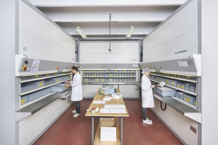 Das Hänel Rotomat® Versandlager ist auf maximale Effizienz und Kommissionierleistung ausgelegt.