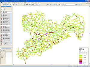 ESN-Analyse für das Straßennetz von Sachsen in der Übersicht