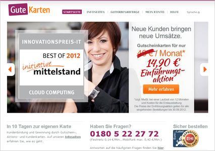 Kundenbindung in der Cloud: www.gute-karten.de zählt zu den Top 20 IT-Innovationen des Jahres