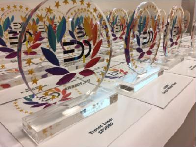 EDP Award Preisvergabe auf der Fespa 2017 in Hamburg (Quelle: Trotec Laser)