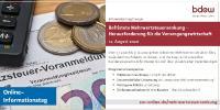 """BDEW-Online-Informationstag: """"Befristete Mehrwertsteuersenkung – Herausforderung für die Versorgungswirtschaft"""" am 12. August 2020"""