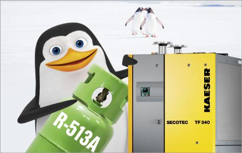 R-513A refrigerant offers the most future-proof operating solution for refrigeration dryers. All KAESER refrigeration dryers will use this environmentally-friendly and safe alternative by the end of 2019