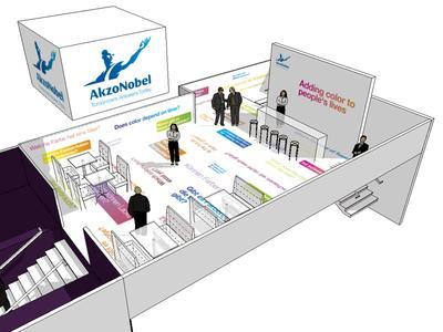 rheinfaktor aus Köln gestaltete die Messe-Lounge von AkzoNobel