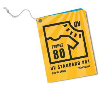 Achten Sie beim Kauf von UV-Schutztextilien auf das Anhängeetikett UV STANDARD 801 / Bild: ©Hohenstein