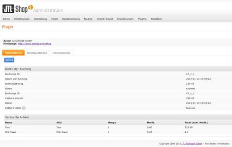 Im Administrationsbereich des JTL3 Shops lassen sich die über die Zahlungsschnittstelle zu ExperCash abgewickelten Transaktionsdetails einsehen, Bildquelle: ExperCash