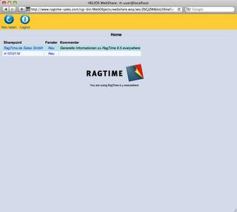RagTime 6.5 individuelles Speichern im Internet