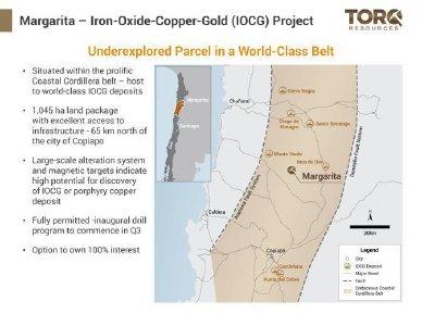 Abbildung 1: Veranschaulicht die Lage des Margarita-Projekts innerhalb des Küstenkordillergürtels und seine Nähe zu den wichtigsten Lagerstätten in der Region