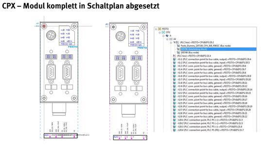 Übersichtsdarstellung von EPLAN-Makros für CPX-Terminals von Festo