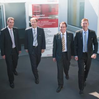 Der Vorstand der inconso AG (v.l.): Wilfried Pfuhl, Dr. Gerd Wintermeyer, Bertram Salzinger und Thomas Gries