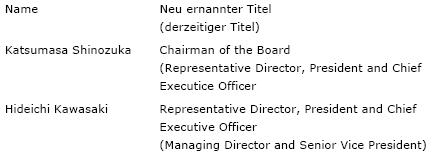Chairman und Representative Director (vorbehaltlich der Zustimmung durch das Board of Director Meeting nach der offiziellen Hauptversammlung Ende Juni 2009)
