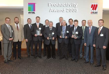 Der 1. Platz des Productivity Awards ging an die Betec Engineering GmbH. Platz 2 erreichte die Firma Siempelkamp - die beiden 3. Plätze belegten die Funkwerk plettac electronic GmbH sowie die Industrie Elektrik Homuth GmbH