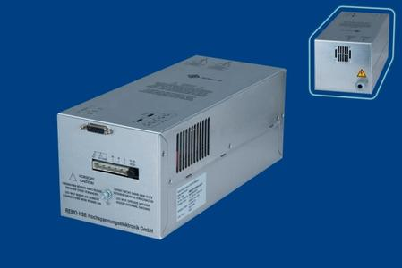 The high-voltage supply module MMR-SP-400-N60-6.6m-P (60 kV, 400 W) from REMO-HSE can be controlled by a simple potentiometer as well as by a PLC or via an industrial bus.