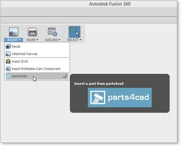 "There is already the menu item ""parts4cad"" Autodesk Fusion 360"
