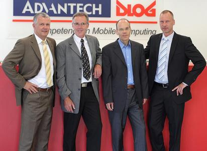 The new management team at Advantech-DLoG: Manfred Lachauer (Sales), Wolfgang Loske (Quality), Jörg Fischbach (Finance), Thorsten Kraus (Development/Purchasing/Production/Product and Project Management)