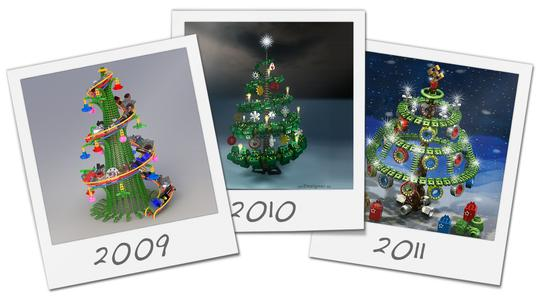 The winners of the Christmas Tree Design contest of the years 2009, 2010 and 2011.
