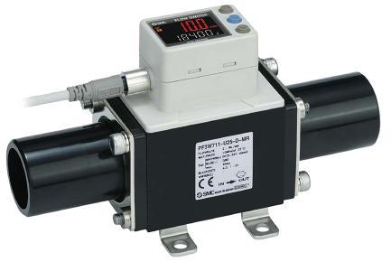 Die digitalen Durchflussmesser der Serie PF3W711 können Wasser, Deionat oder wässrige Ethylenglykol-Lösungen mit einem Durchfluss von bis zu 100 l/min messen. Das zweizeilige Display ist drehbar und kann neben dem aktuellen Durchfluss zusätzliche Messwerte anzeigen (Foto: SMC Deutschland GmbH)
