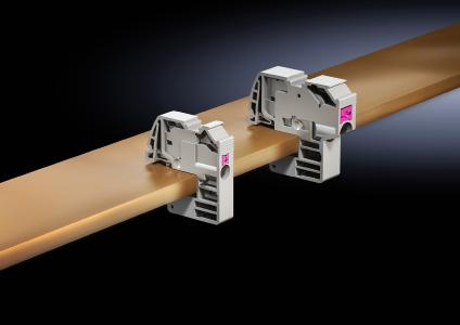 With its new generation of conductor connection clamps using push-in technology, Rittal currently offers the fastest method for creating a quick and easy connection between cables and busbars (Photo: Rittal GmbH & Co. KG)