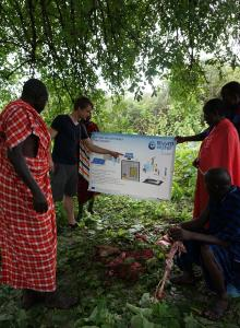 Pic 1: Phaesun Engineer Martini explains the desalination Technology to Maasai people