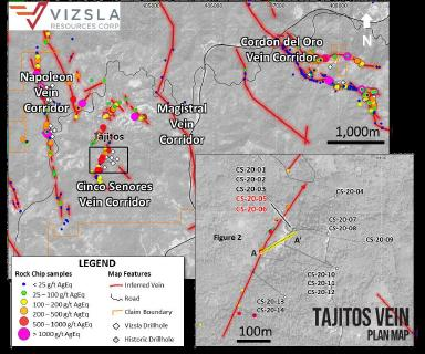 Vizsla expands strike of Tajitos vein zone, intersects 1,607 g/t silver equiv. over 7.55 metres to Panuco, Mexico