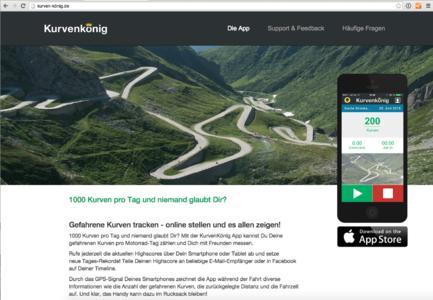 KurvenKönig-App für Motorradfahrer (Screenshot Website)