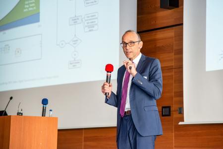 Prof. Dr. Härting eröffnet den 9. Transfertag an der Hochschule Aalen / © Hochschule Aalen / Kai Binning