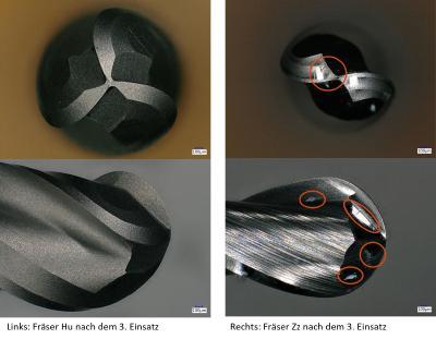 Die Aufnahmen vergleichen das Fräswerkzeug der Firma Hufschmied (links) und eines der unbeschichteten Werkzeuge (Zz rechts) nach der gesamten Versuchsreihe. Hier ist ein deutlicher Unterschied im Zustand der Werkzeuge zu erkennen. Während das linke Werkzeug weder fehlerhafte Stellen in der Beschichtung noch in der Geometrie aufweist, sind auf dem rechten Bild deutlich Abnutzungserscheinungen zu erkennen (farbig gekennzeichnet). Der einwandfreie Zustand des Benchmarksiegers von Hufschmied erklärt die konstant hohe quadratische Performance in allen drei Bearbeitungszyklen / Bildquelle: Hufschmied Zerspanungssysteme