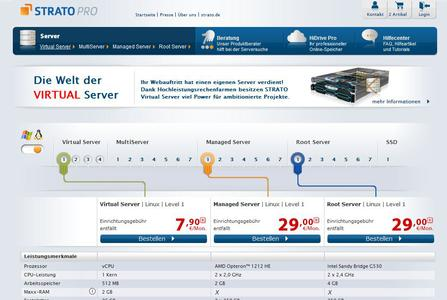STRATO PRO Server und Geschäftskundenportal - Server Vergleich