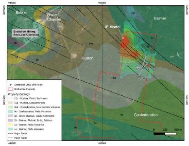 Figure 1: Plan of Gold Centre drill holes reported in this press release with geology and targeted IP anomalies. Base geology and legend from Sanborne-Barrie 2004 (GSC-OF4594)