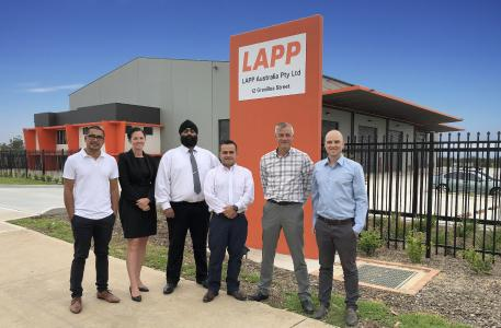 Lapp's Australian headquarters in Eastern Creek, Sydney, The team from Lapp Australia now offers Lapp quality and service directly in Australia, From right to left: Terence Rayner – Managing Director, Simon Pullinger – General Manager, Rod Calderon - Marketing & Office Manager, Indy Saggu – Customer Service Executive, Casey Hourihan – Technical Sales Support, Michael De Leon – Warehouse Supervisor