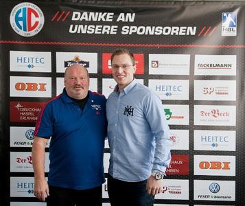 (Foto: hl-studios, Erlangen): Trainer Frank Bergemann und Torjäger Martin Murawski, HC Erlangen