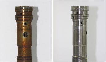 Stahl-Drehteile nach dem thermischen Entgraten vor (links) und nach dem Entrosten (rechts) mit SurTec 412 Neutralaktivator
