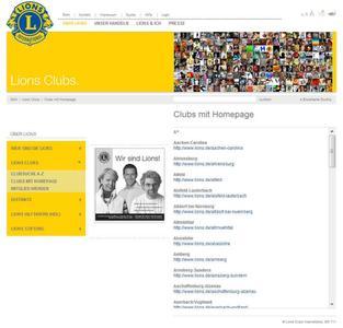 www.lions.de – der aktuelle Lions-Auftritt: viele untergeordnete Club-Seiten mit sehr unterschiedlichem Informationsgehalt und nicht mehr zeitgemäßen Darstellungsmöglichkeiten