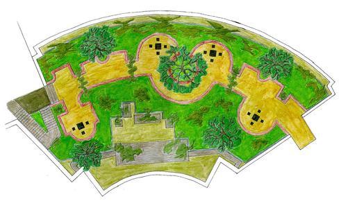 Mit dieser handkolorierten Skizze besuchte Peter Vaughan, Künstler und Landschaftsgärtner, ein ZinCo-Fachseminar und suchte nach der richtigen Technik für seine Dachgarten-Idee.