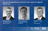 v.l.n.r.: Andreas Nauen, CEO Offshore Wind der Siemens Gamesa AG, Torsten Schierholz, Chief Digital Officer, LEONI AG, Dr. Alfred Felder, CEO der Zumtobel AG