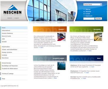Der neue Internet-Auftritt der Neschen AG in Bückeburg (www.neschen.de)