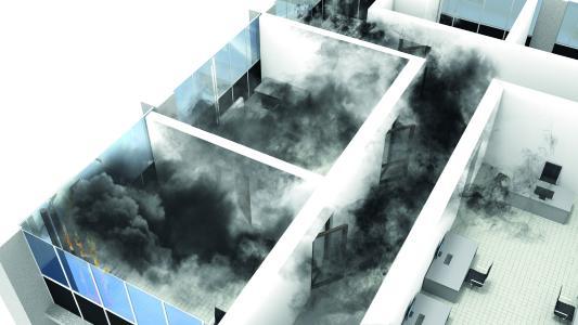 Rauchgase sind meist giftig und erschweren die Sicht. Maßnahmen zum vorbeugenden bautechnischen Brandschutz zielen deswegen darauf ab, der Ausbreitung des Brandes so lange wie möglich entgegenzuwirken. So bleibt mehr Zeit das Gebäude zu verlassen und die Feuerwehr hat es leichter, den Brand zu bekämpfen / Fotonachweis: Thermaflex/txn