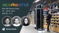 Magazino exhibits the mobile picking robot TORU at the Expo Riva Schuh 2021 trade show.