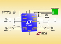 I2C Controlled 4-Output Synchronous Step-Down DC/DC Converter Fits 2 x 600mA & 2 x 400mA Independent Converter in 3mm x 3mm QFN