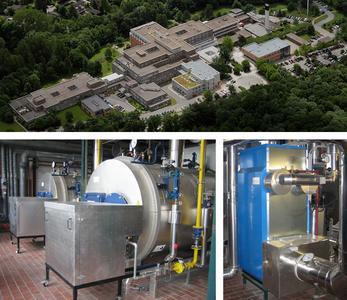 Die moderne Loos-Dampfkesselanlage mit nachgeschalteten Edelstahl-Brennwertwärmetauschern sorgt für eine effiziente Energiebereitstellung im Klinikum Itzehoe